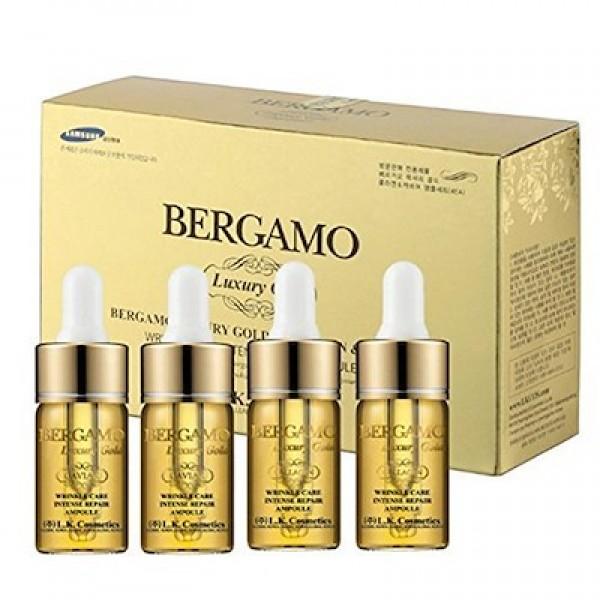 Ампульная сыворотка BERGAMO Luxury Gold Caviar Wrinkle Care Intense Repair Ampoule 4pcs